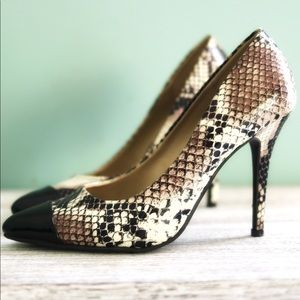 Black & Snakeskin Heels